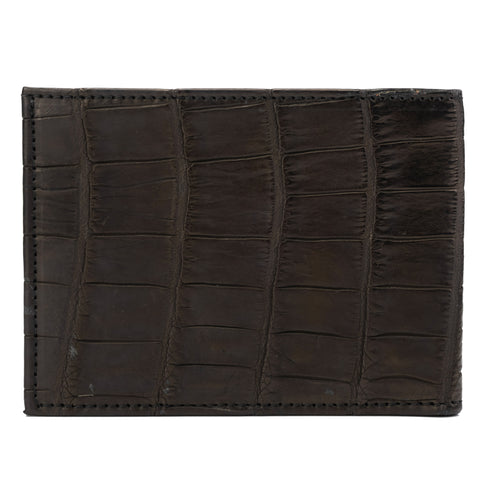 SUTOR MANTELLASSI Hand-Sewn Black-Brown Crocodile Leather Card Holder Wallet NEW
