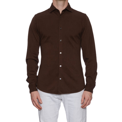 "FEDELI Italy Solid Brown ""Dusty System"" Cotton Pique Shirt EU 46 NEW US XS"
