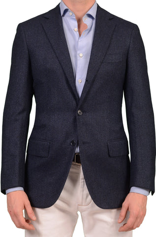 Sartoria PARTENOPEA Blue Herringbone Wool-Cashmere Jacket Silk Lined 48 NEW 38