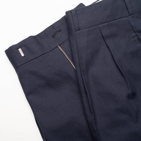 Sartoria CHIAIA Napoli Navy Blue Twill Cotton Flat Front Dress Pants EU 50 NEW US 34