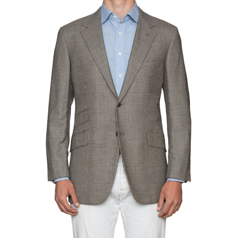 Sartoria PARTENOPEA Gray Glen Plaid Cashmere Wool Super 130's Jacket 56 NEW 46