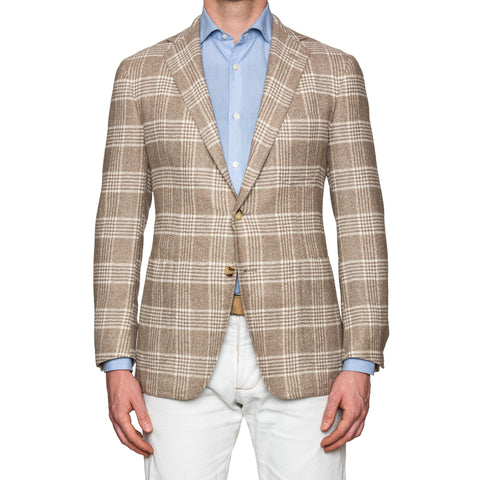 Sartoria PARTENOPEA Hand Made Beige Glen Plaid Wool Jacket Sports Coat NEW
