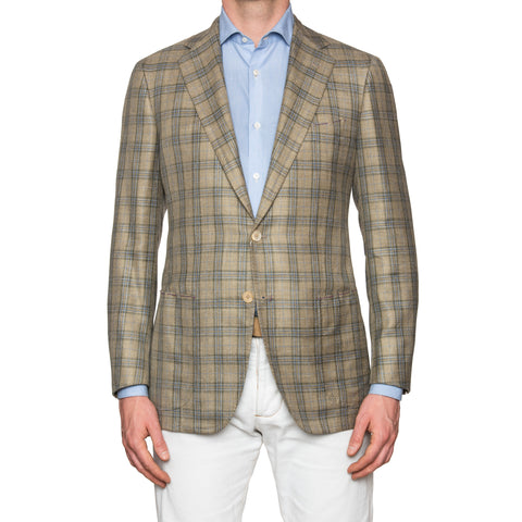 Sartoria PARTENOPEA Hand Made Beige Plaid Wool-Silk-Linen Jacket 40 NEW EU 50