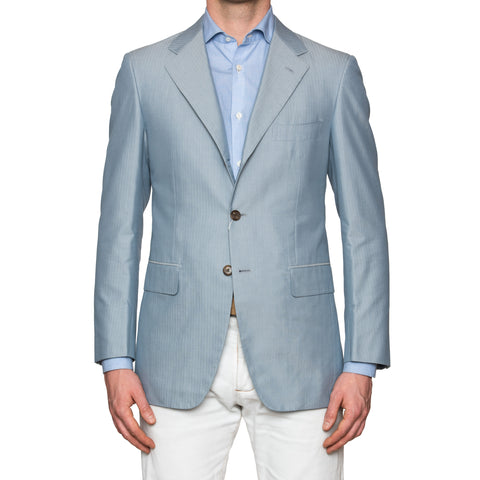 Sartoria PARTENOPEA Hand Made Blue Herringbone Cotton-Silk Jacket 40 NEW 50