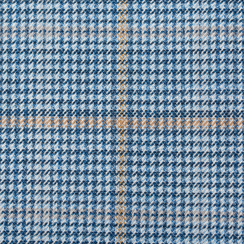 Sartoria PARTENOPEA Hand Made Blue Houndstooth Plaid Wool Jacket NEW BIG SIZE