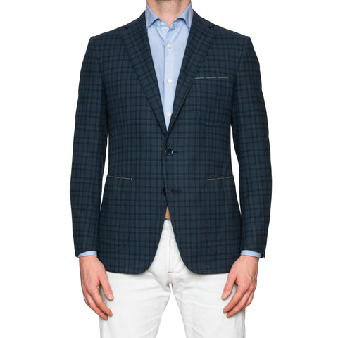 Sartoria PARTENOPEA Hand Made Blue Plaid Cotton Blazer Jacket NEW Slim