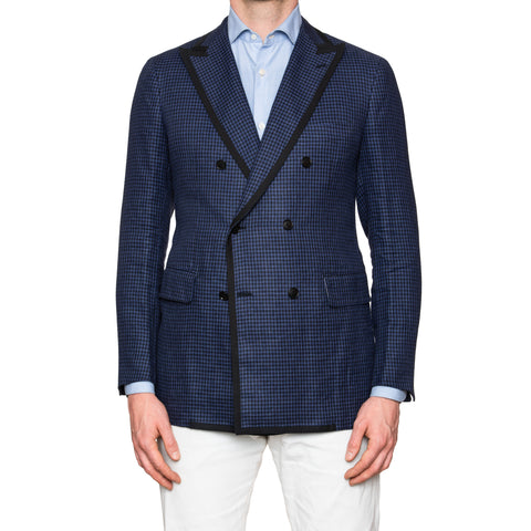 Sartoria PARTENOPEA Hand Made Blue Plaid Double Breasted Linen Jacket NEW