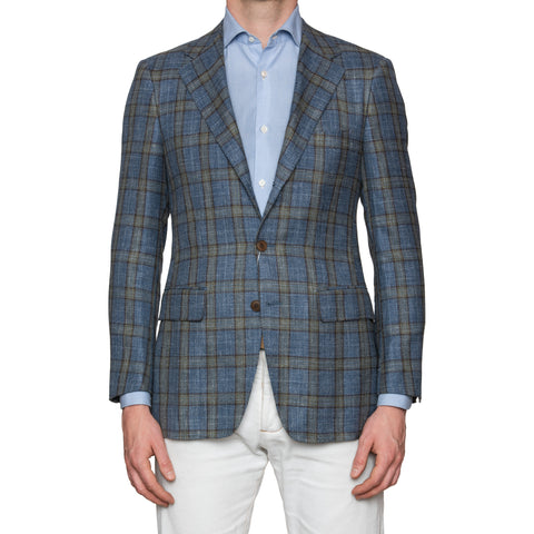 Sartoria PARTENOPEA Hand Made Blue Plaid Wool Silk Linen Blazer Jacket 48 NEW 38