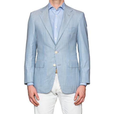 Sartoria PARTENOPEA Hand Made Blue Striped Wool Silk Blazer Jacket NEW