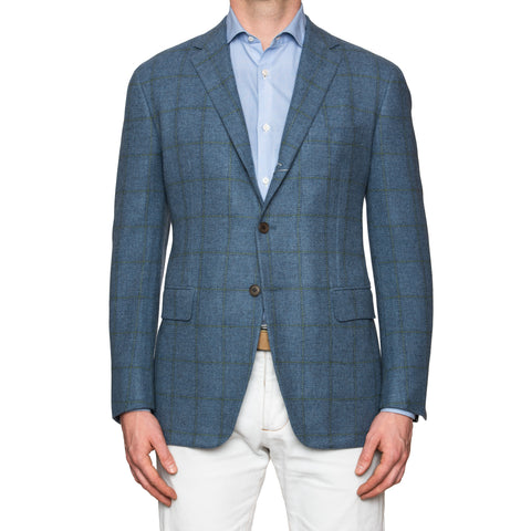 Sartoria PARTENOPEA Hand Made Blue Wool Jacket Sports Coat US 42 EU 52 NEW