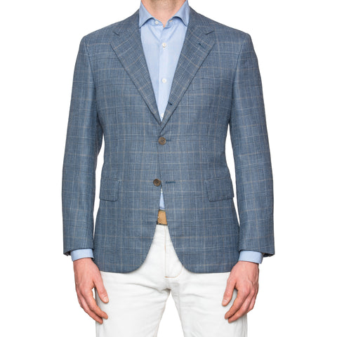 Sartoria PARTENOPEA Hand Made Blue Wool Silk Linen Jacket NEW Short Portly