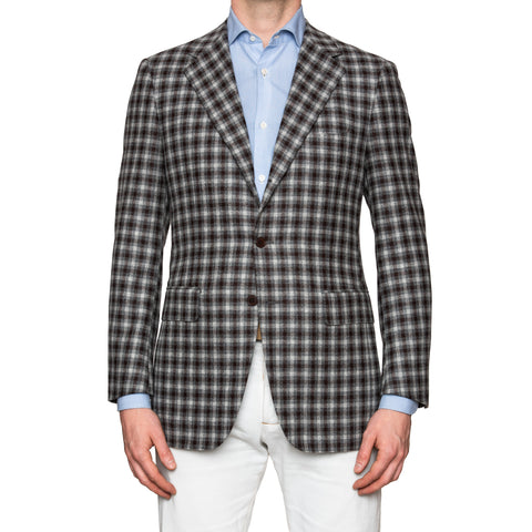 Sartoria PARTENOPEA Hand Made Gray-Brown Plaid Wool Jacket Sports Coat 50 NEW 40
