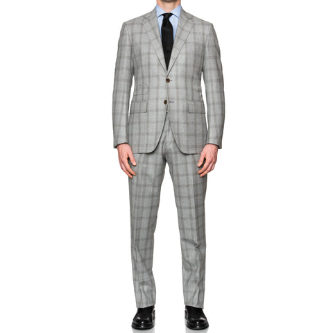 Sartoria PARTENOPEA Hand Made Gray Plaid Wool Suit EU 50 NEW US 40