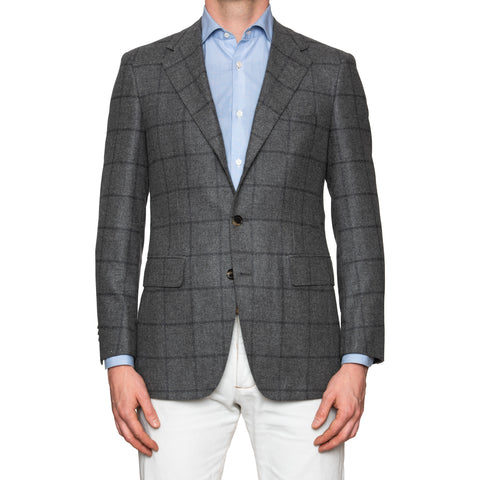 Sartoria PARTENOPEA Hand Made Gray Windowpane Wool Jacket Sports Coat