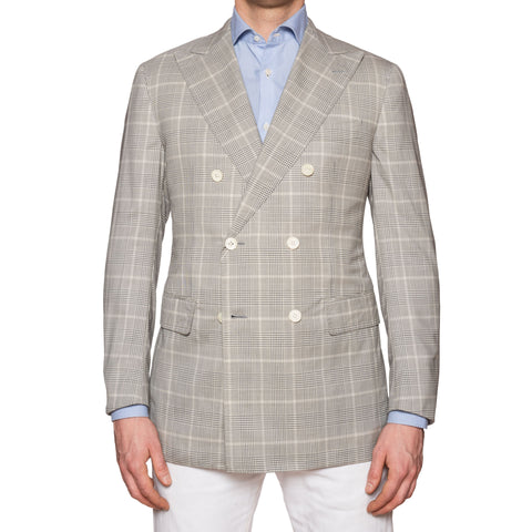 Sartoria PARTENOPEA Hand Made Gray Wool-Silk DB Jacket NEW Slim