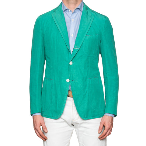 Sartoria PARTENOPEA Hand Made Green Cotton Linen Unlined Blazer Jacket NEW