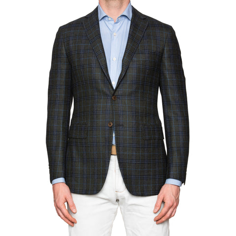 Sartoria PARTENOPEA Hand Made Green Plaid Flannel Wool Blazer Jacket NEW