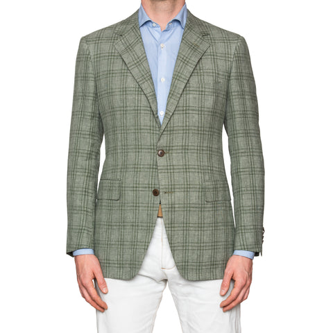 Sartoria PARTENOPEA Hand Made Green Plaid Linen Wool Silk Jacket 52 NEW US 42