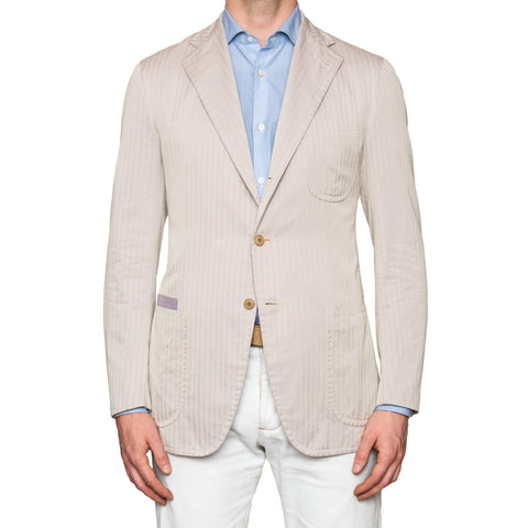 Sartoria PARTENOPEA Hand Made Herringbone Cotton Jacket Sports Coat 50 NEW US 40