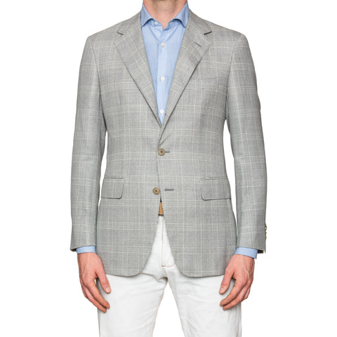 Sartoria PARTENOPEA Hand Made Light Gray Plaid Wool Silk Jacket Blazer NEW