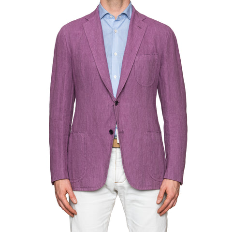 Sartoria PARTENOPEA Hand Made Purple Herringbone Linen Jacket Sports Coat
