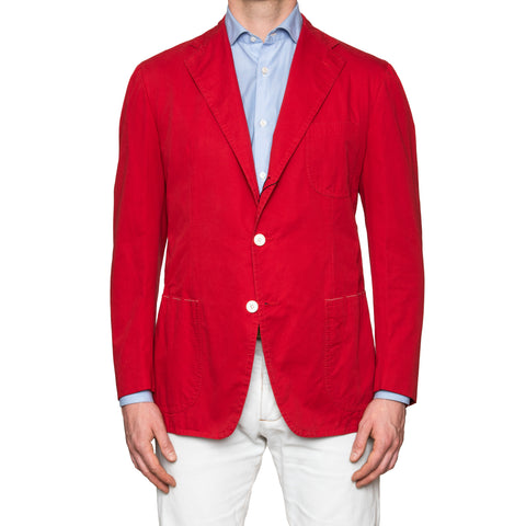 Sartoria PARTENOPEA Hand Made Solid Red Cotton Jacket Sports Coat 52 NEW US 42