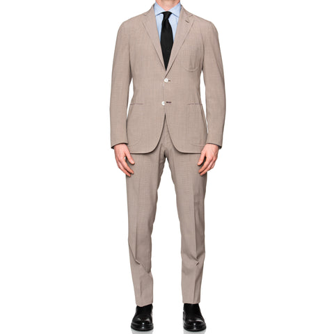 Sartoria PARTENOPEA Hand Made Tan Wool Blend Summer Suit EU 50 NEW US 40