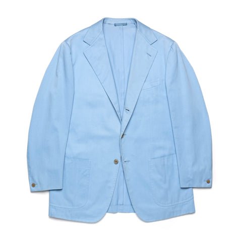 Sartoria PARTENOPEA Handmade Light Blue Cotton Unlined Blazer Jacket EU 52 US 42