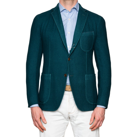 Sartoria PARTENOPEA Handmade & Washed Green Wool Angora Jacket EU 50 NEW US 40