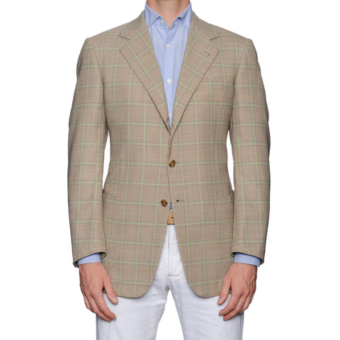 SARTORIA CASTANGIA Beige Plaid Sport Coat Jacket EU 50 NEW US 40