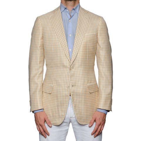 SARTORIA CASTANGIA Beige Plaid Cashmere-Silk Jacket with Silk Lining 50 NEW 40