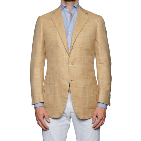 SARTORIA CASTANGIA Beige Plaid Merino Wool-Silk-Linen Jacket EU 48 NEW US 38