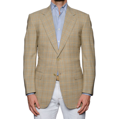 SARTORIA CASTANGIA Beige Prince of Wales Wool Super 110's Jacket NEW