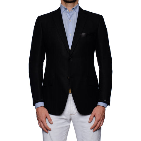 SARTORIA CASTANGIA Black Raw Silk Jacket w. Crocodile Leather Details 48 NEW 38