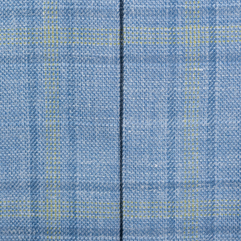 SARTORIA CASTANGIA Blue Plaid Merino Wool-Silk-Linen Jacket NEW