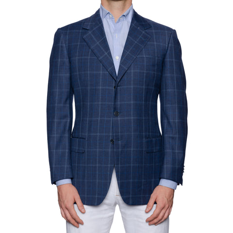 SARTORIA CASTANGIA Blue Plaid Merino Wool Super 130's Jacket EU 50 NEW US 40