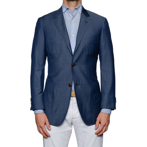 SARTORIA CASTANGIA Blue Wool Jacket with Silk Lining EU 48 NEW US 38