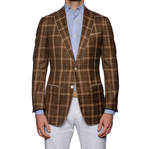 SARTORIA CASTANGIA Brown Plaid Cashmere-Silk Jacket with Silk Lining 48 NEW 38