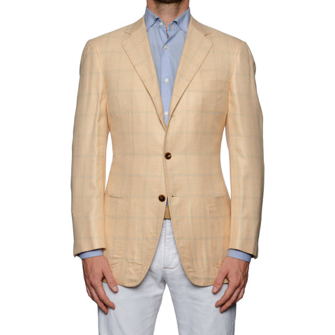 SARTORIA CASTANGIA Peach Plaid Bamboo Jacket EU 48 NEW US 38
