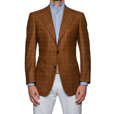 SARTORIA CASTANGIA Brown Plaid Cashmere Jacket EU 48 NEW US 38