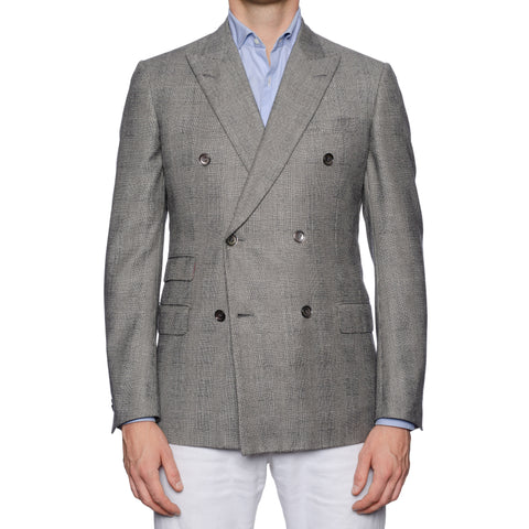SARTORIA CASTANGIA Gray Glen Plaid Wool-Silk DB Jacket EU 48 NEW US 38