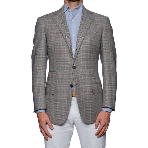 SARTORIA CASTANGIA Gray Houndstooth Plaid Wool Jacket EU 48 NEW US 38