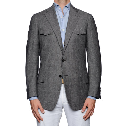 SARTORIA CASTANGIA Gray Plaid Wool Super 130's Flannel Jacket 48 NEW US 38