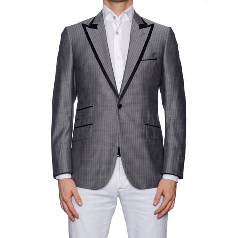 SARTORIA CASTANGIA Gray Silk-Wool Dinner Jacket with Silk Lining 48 NEW US 38