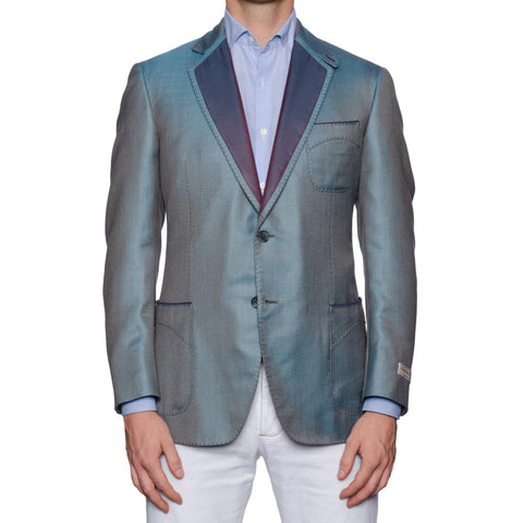 SARTORIA CASTANGIA Hand-Stitched Blue Silk-Cashmere Unlined Jacket 50 NEW 40