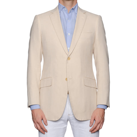 SARTORIA CASTANGIA Handmade Beige Cotton Sport Coat Jacket EU 48 NEW US 38