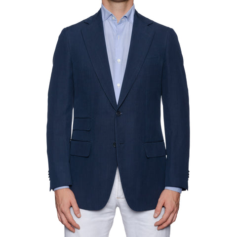 SARTORIA CASTANGIA Handmade Blue Silk Sport Coat Jacket Blazer 50 NEW US 40
