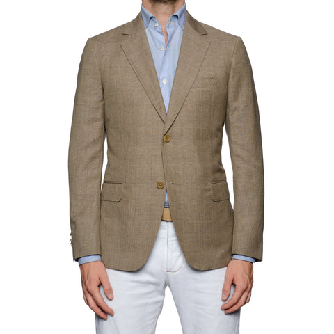 SARTORIA CASTANGIA Khaki Plaid Linen-Wool Sport Coat Jacket EU 48 NEW US 38