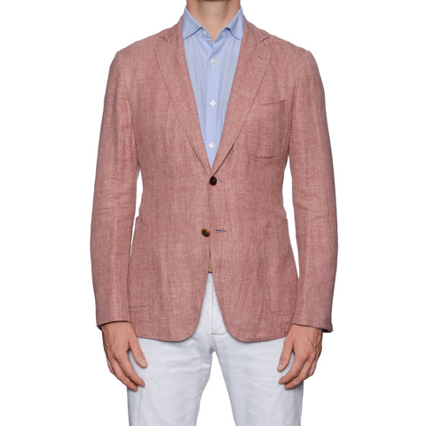 SARTORIA CASTANGIA Light Crimson Wool-Silk-Linen Unlined Jacket 50 NEW US 40