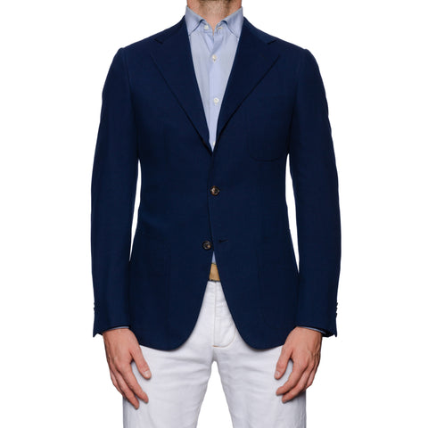 SARTORIA CASTANGIA Navy Blue Silk-Cotton Twill Unlined Jacket EU 48 NEW US 38